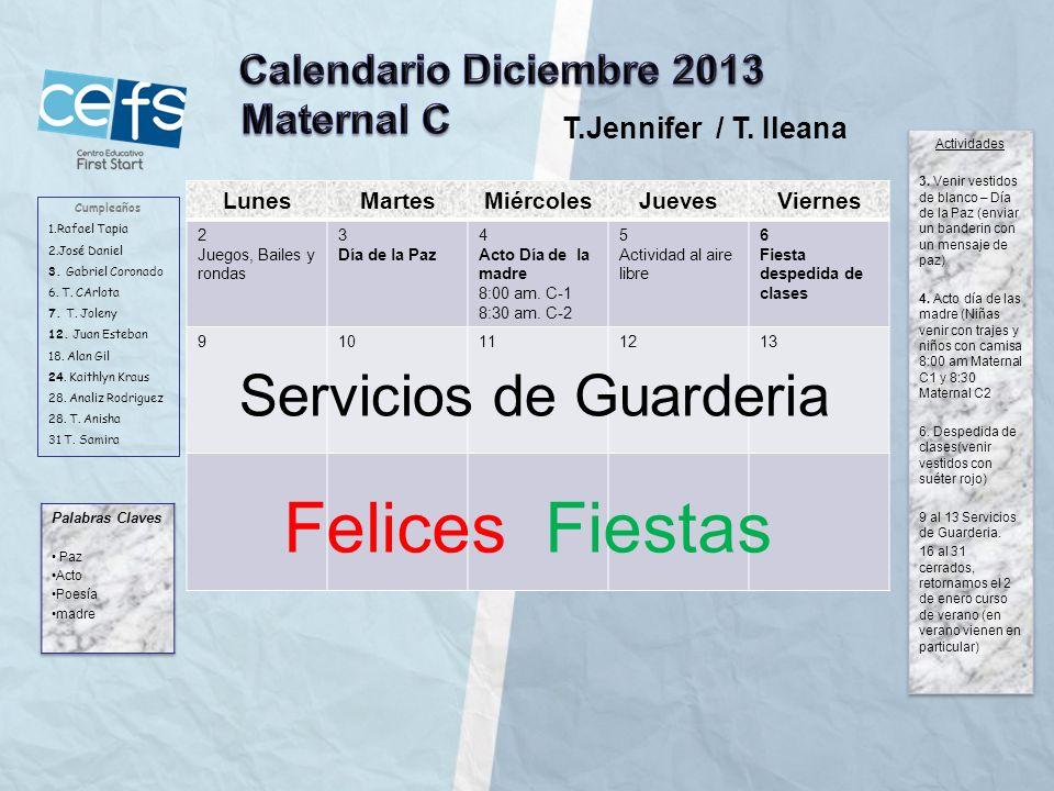 Felices Fiestas Servicios de Guarderia Calendario Diciembre 2013