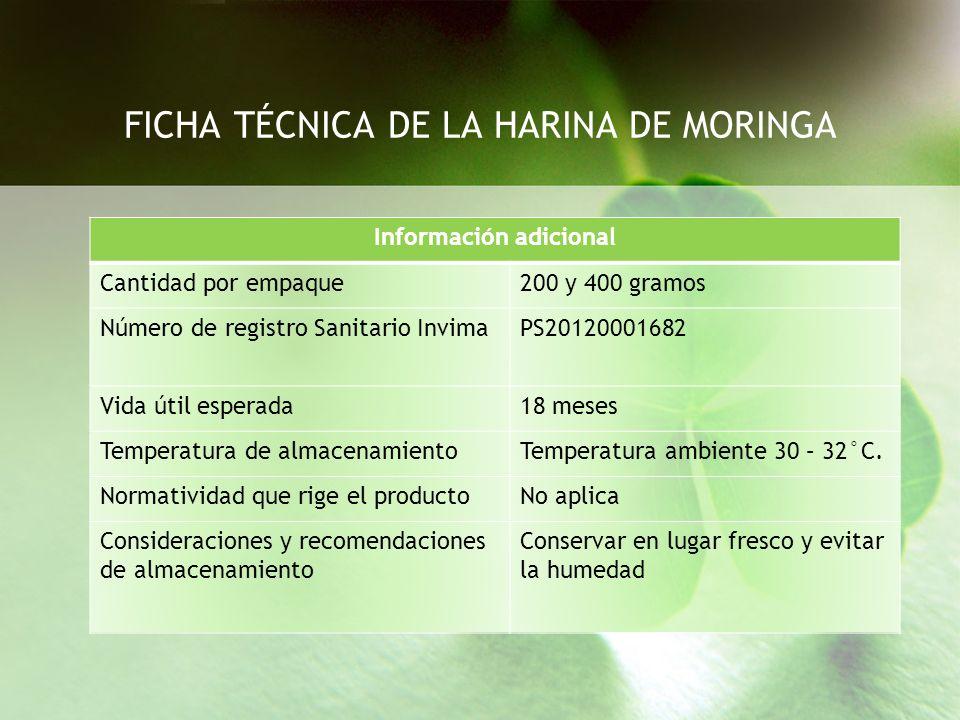 FICHA TÉCNICA DE LA HARINA DE MORINGA