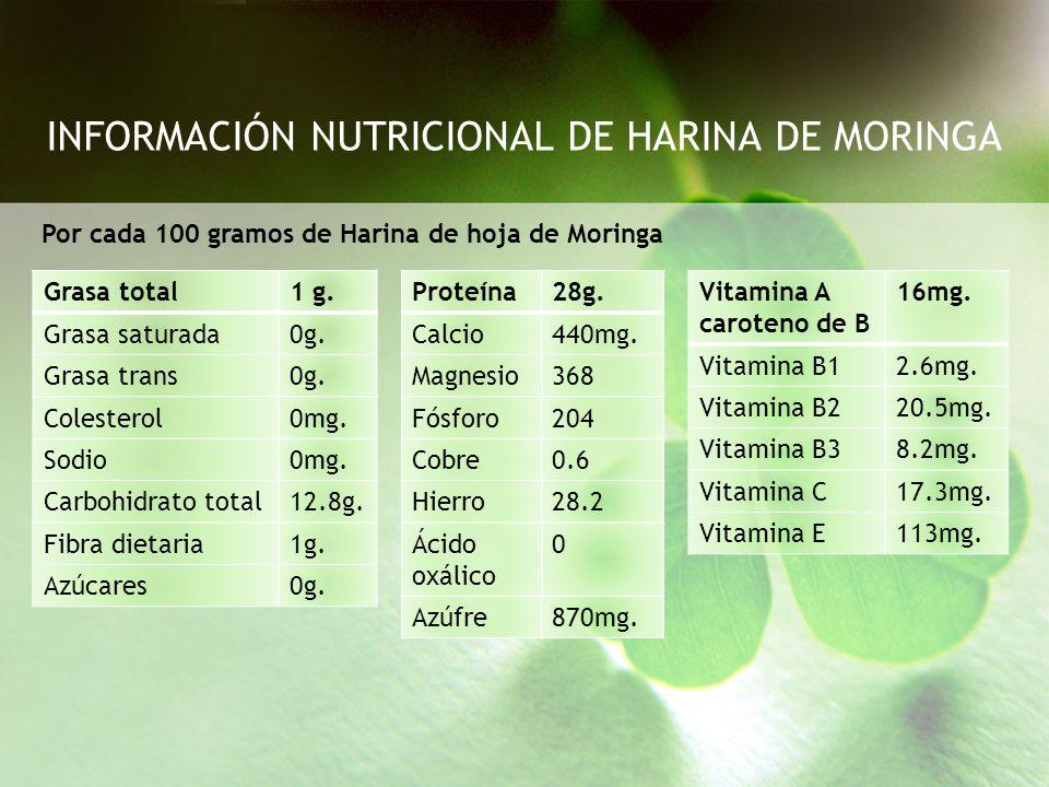 INFORMACIÓN NUTRICIONAL DE HARINA DE MORINGA
