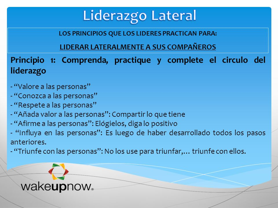 Liderazgo Lateral LOS PRINCIPIOS QUE LOS LIDERES PRACTICAN PARA: LIDERAR LATERALMENTE A SUS COMPAÑEROS.