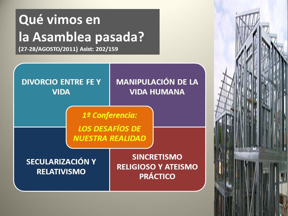 Qué vimos en la Asamblea pasada (27-28/AGOSTO/2011) Asist: 202/159