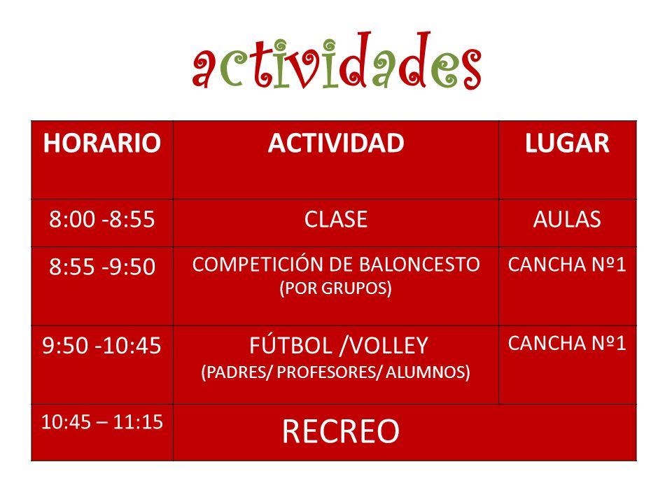 actividades RECREO HORARIO ACTIVIDAD LUGAR 8:00 -8:55 CLASE AULAS