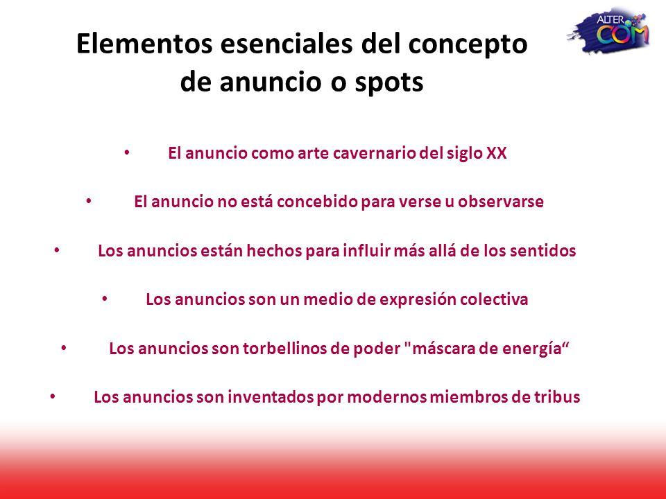 Elementos esenciales del concepto de anuncio o spots
