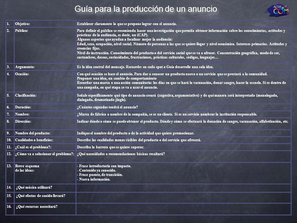 Guía para la producción de un anuncio