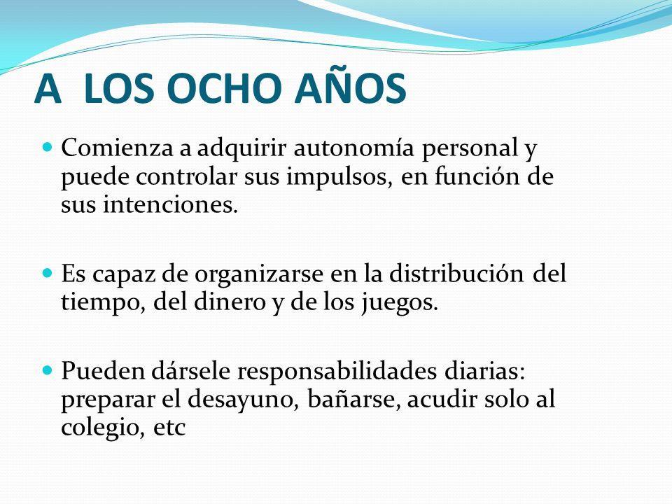 A LOS OCHO AÑOS Comienza a adquirir autonomía personal y puede controlar sus impulsos, en función de sus intenciones.