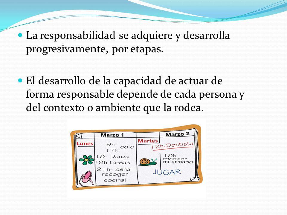 La responsabilidad se adquiere y desarrolla progresivamente, por etapas.