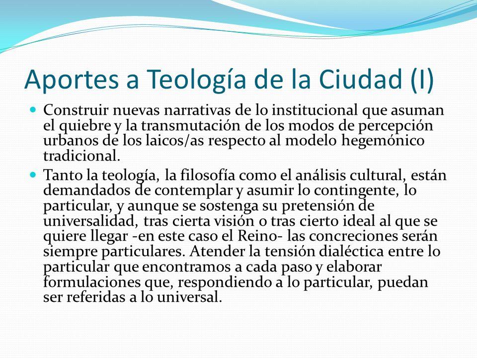 Aportes a Teología de la Ciudad (I)