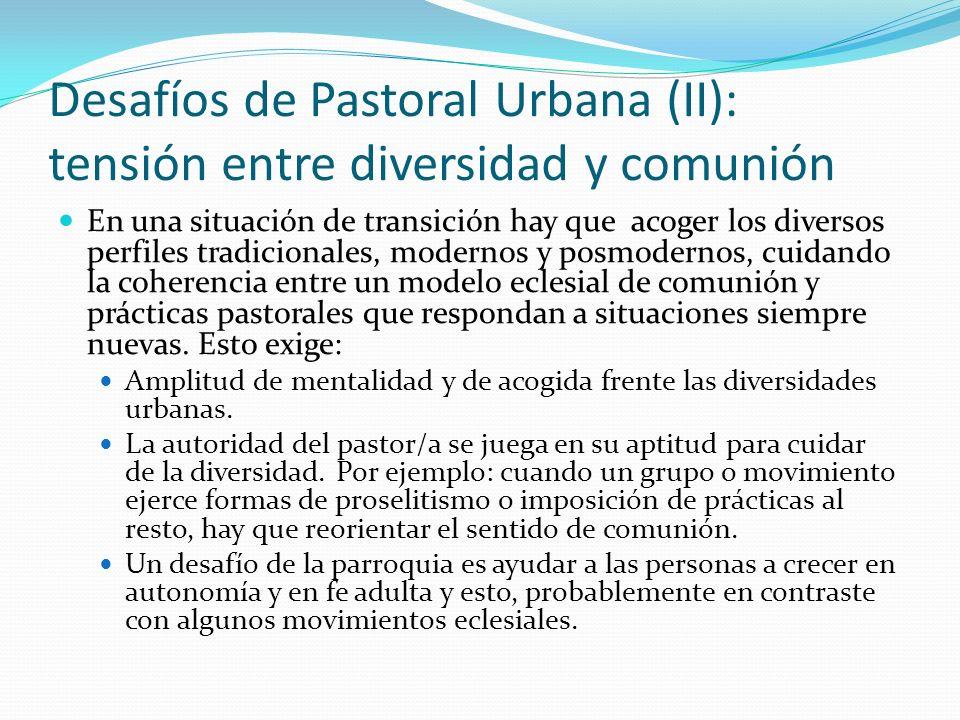 Desafíos de Pastoral Urbana (II): tensión entre diversidad y comunión