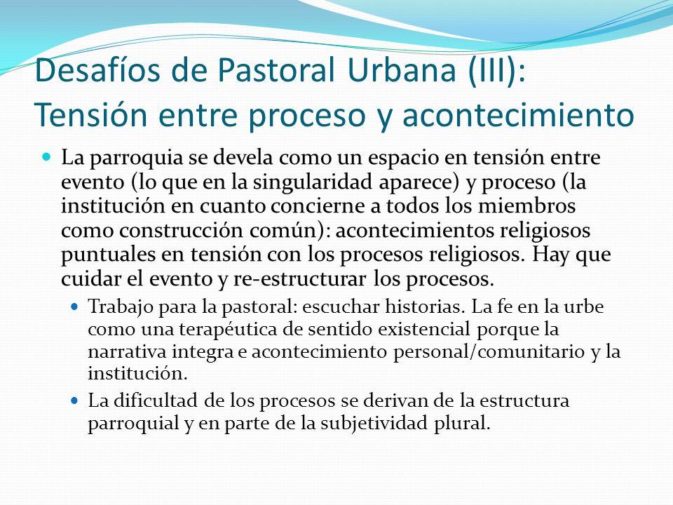 Desafíos de Pastoral Urbana (III): Tensión entre proceso y acontecimiento