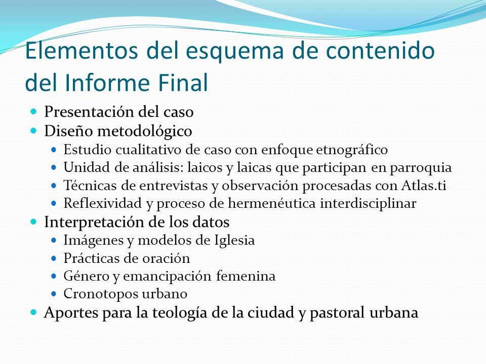 Elementos del esquema de contenido del Informe Final