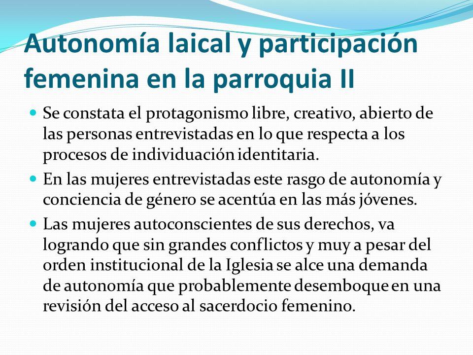 Autonomía laical y participación femenina en la parroquia II
