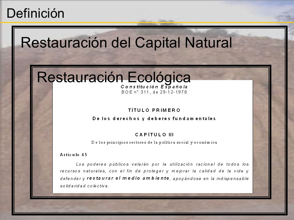 Restauración del Capital Natural