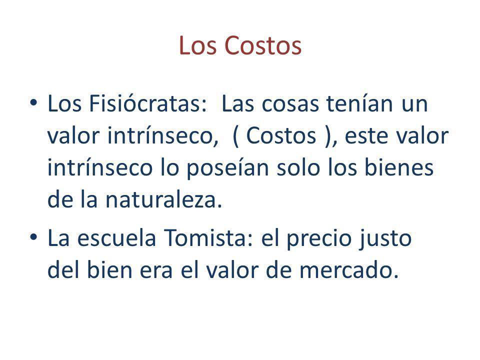 Los Costos Los Fisiócratas: Las cosas tenían un valor intrínseco, ( Costos ), este valor intrínseco lo poseían solo los bienes de la naturaleza.