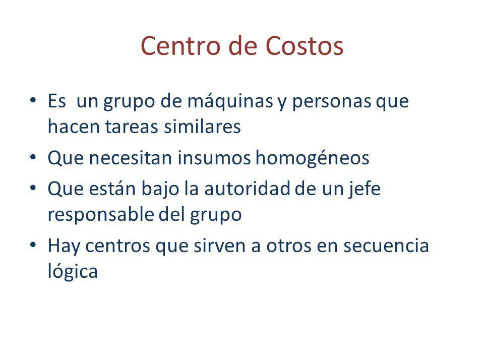Centro de Costos Es un grupo de máquinas y personas que hacen tareas similares. Que necesitan insumos homogéneos.
