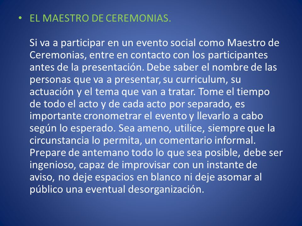EL MAESTRO DE CEREMONIAS
