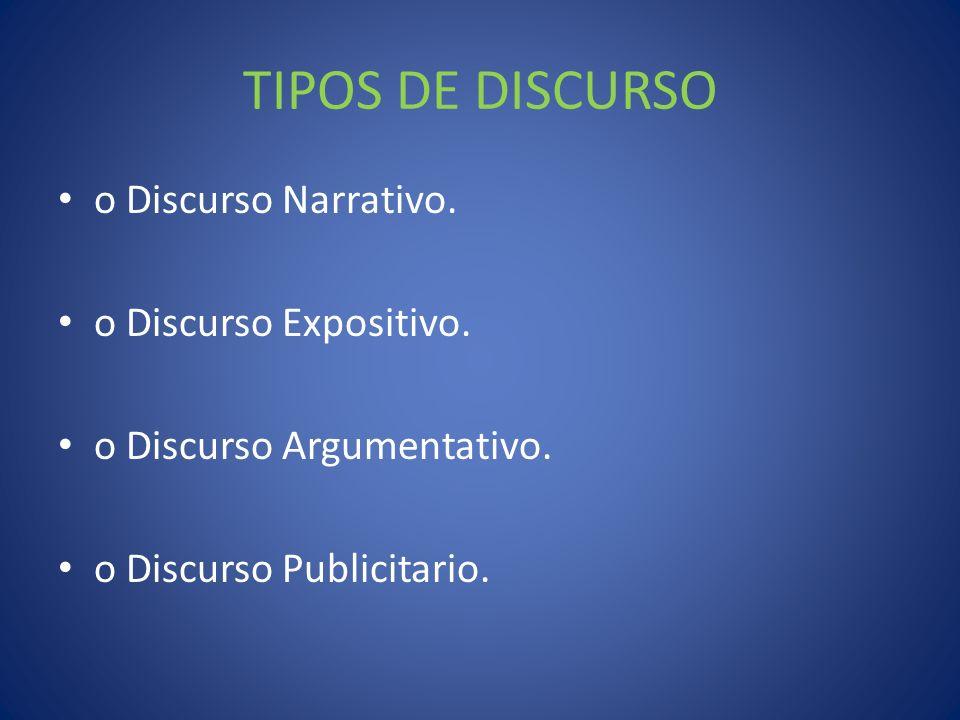 TIPOS DE DISCURSO o Discurso Narrativo. o Discurso Expositivo.