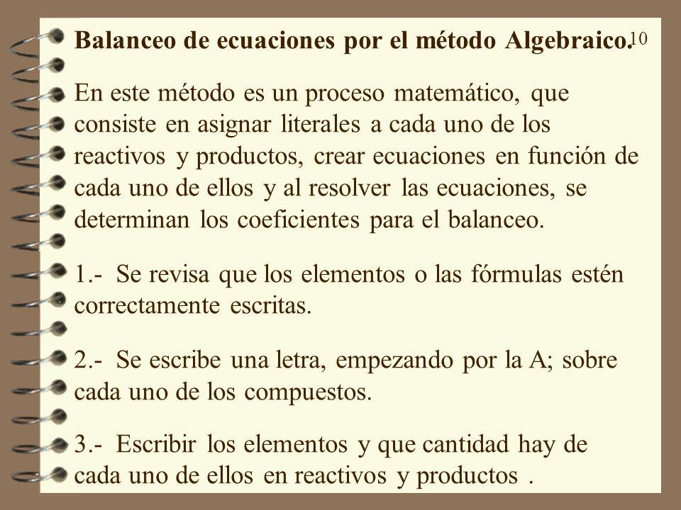 Balanceo de ecuaciones por el método Algebraico.