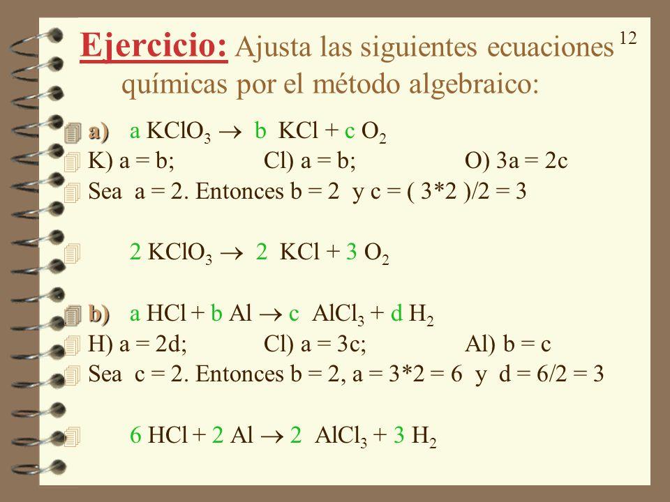 Ejercicio: Ajusta las siguientes ecuaciones químicas por el método algebraico: