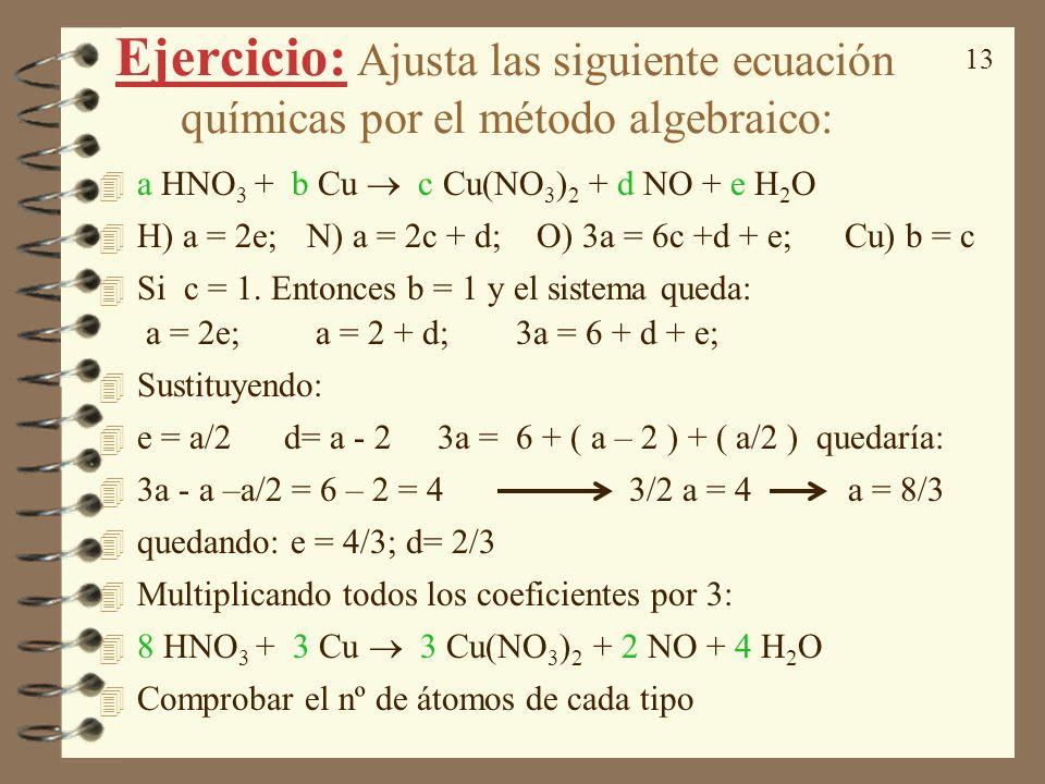 Ejercicio: Ajusta las siguiente ecuación químicas por el método algebraico: