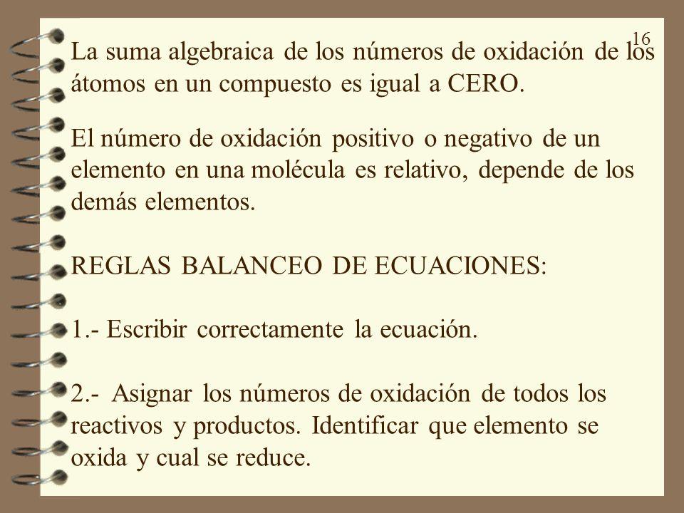 La suma algebraica de los números de oxidación de los átomos en un compuesto es igual a CERO.