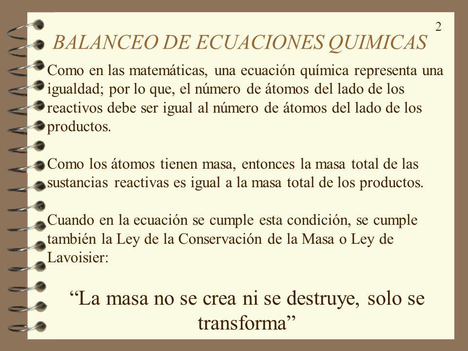 BALANCEO DE ECUACIONES QUIMICAS