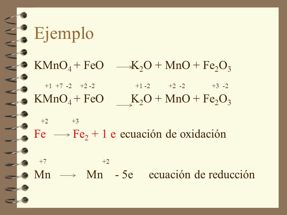 Ejemplo KMnO4 + FeO K2O + MnO + Fe2O3