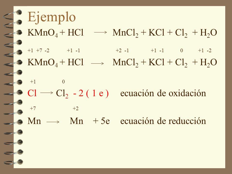 Ejemplo KMnO4 + HCl MnCl2 + KCl + Cl2 + H2O