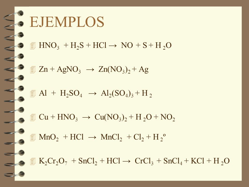 EJEMPLOS HNO3 + H2S + HCl → NO + S + H 2O Zn + AgNO3 → Zn(NO3)2 + Ag