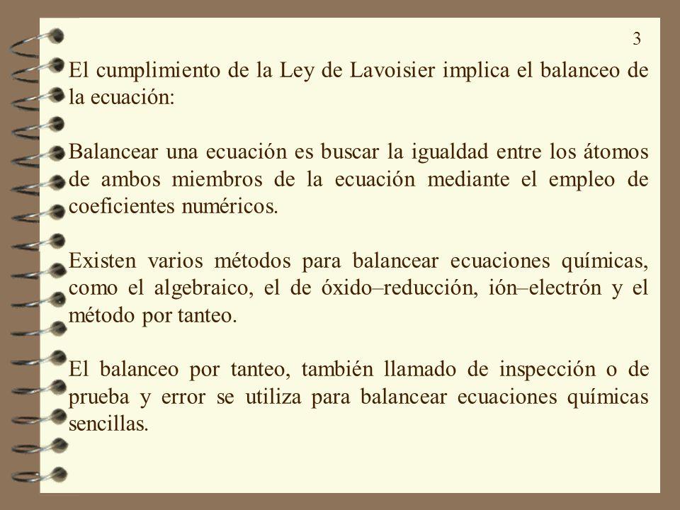 El cumplimiento de la Ley de Lavoisier implica el balanceo de la ecuación: