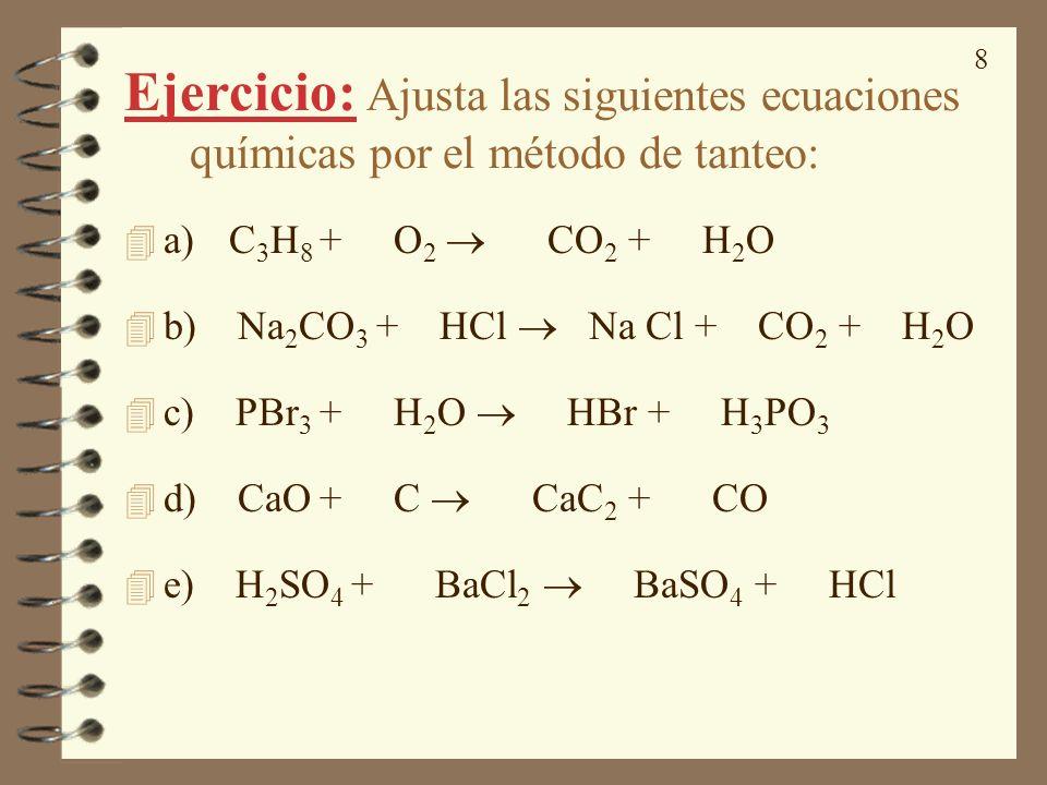 Ejercicio: Ajusta las siguientes ecuaciones químicas por el método de tanteo: