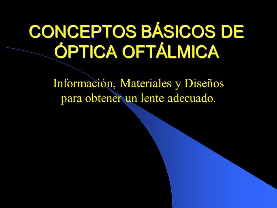 CONCEPTOS BÁSICOS DE ÓPTICA OFTÁLMICA
