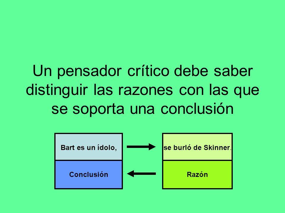 Un pensador crítico debe saber distinguir las razones con las que se soporta una conclusión