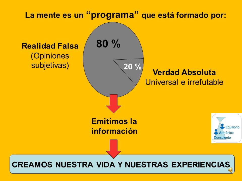 80 % La mente es un programa que está formado por: Realidad Falsa