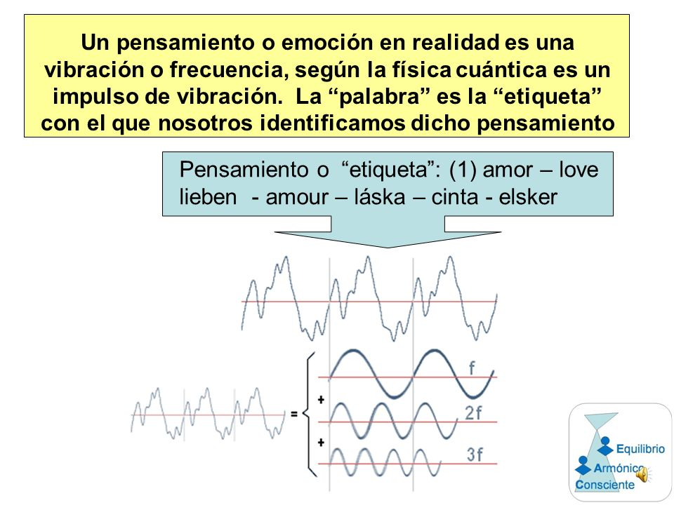 Un pensamiento o emoción en realidad es una vibración o frecuencia, según la física cuántica es un impulso de vibración. La palabra es la etiqueta con el que nosotros identificamos dicho pensamiento