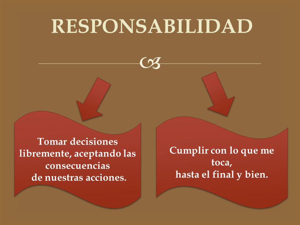 RESPONSABILIDAD Tomar decisiones libremente, aceptando las consecuencias. de nuestras acciones. Cumplir con lo que me toca,
