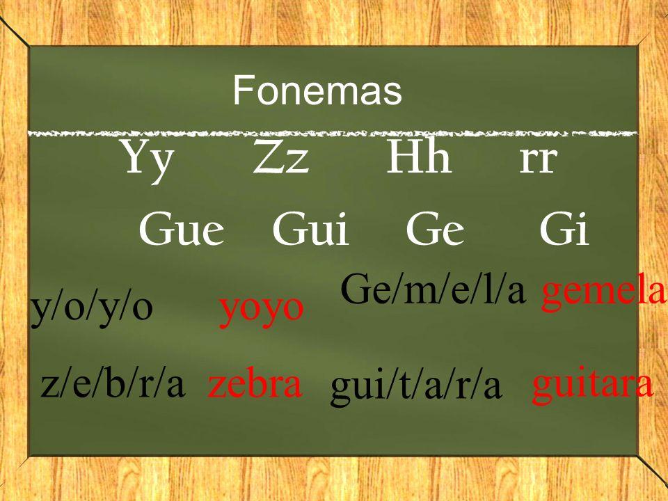 Yy Zz Hh rr Gue Gui Ge Gi Ge/m/e/l/a gemela y/o/y/o yoyo z/e/b/r/a