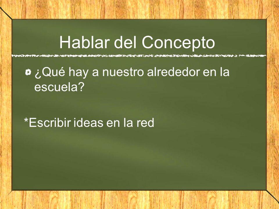 Hablar del Concepto ¿Qué hay a nuestro alrededor en la escuela