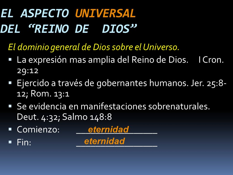 EL ASPECTO UNIVERSAL DEL REINO DE DIOS