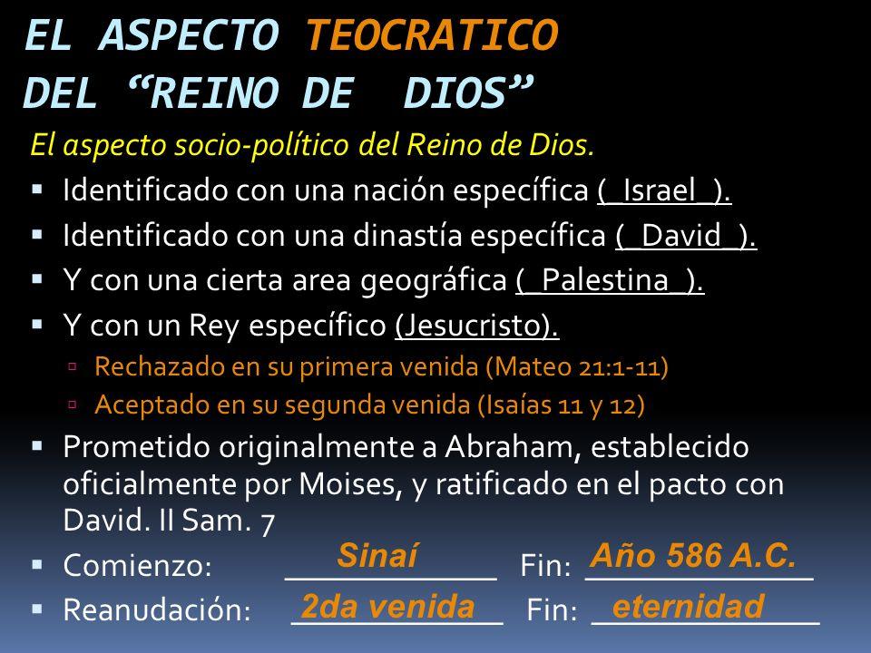 EL ASPECTO TEOCRATICO DEL REINO DE DIOS