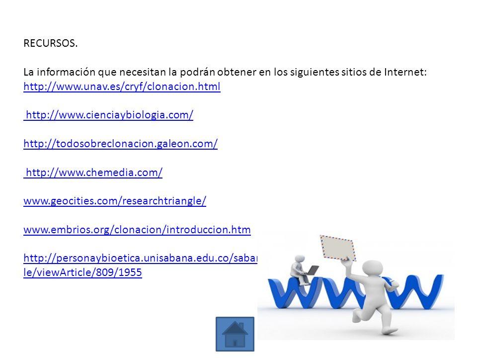 RECURSOS. La información que necesitan la podrán obtener en los siguientes sitios de Internet: