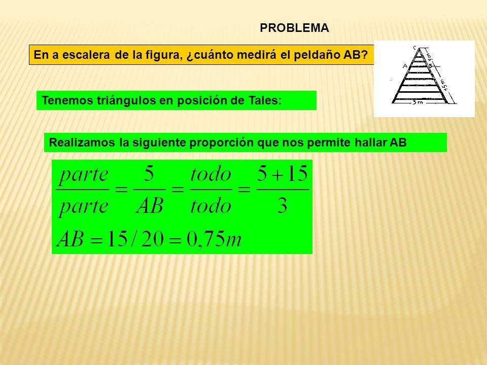 PROBLEMA En a escalera de la figura, ¿cuánto medirá el peldaño AB Tenemos triángulos en posición de Tales: