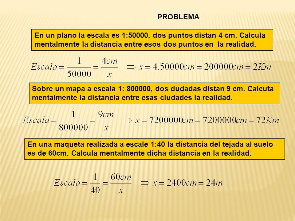 PROBLEMA En un plano la escala es 1:50000, dos puntos distan 4 cm, Calcula mentalmente la distancia entre esos dos puntos en la realidad.