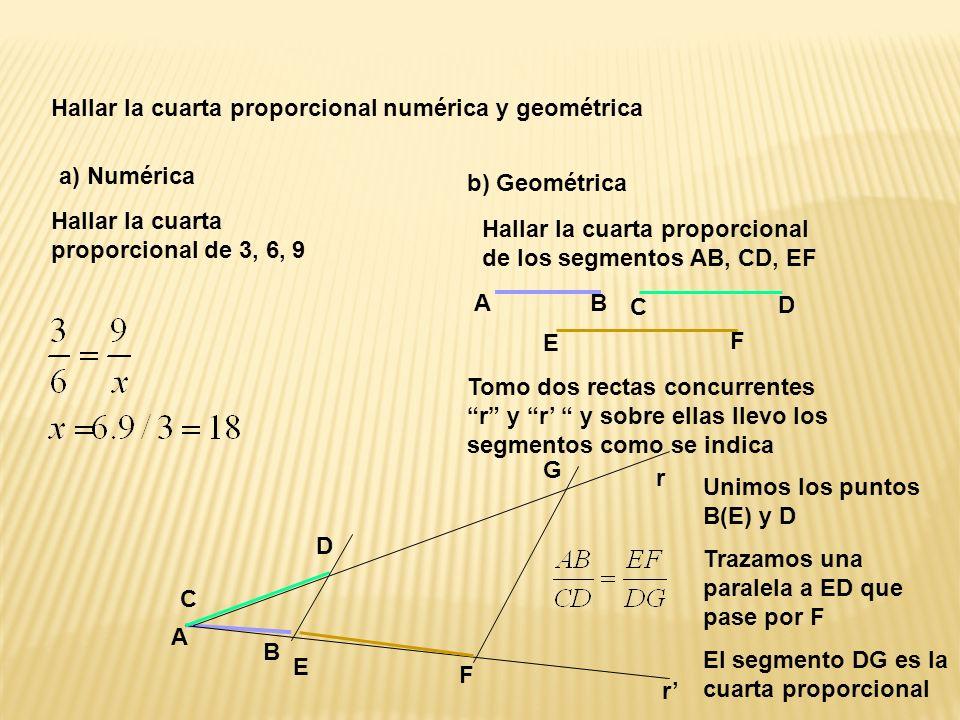 Hallar la cuarta proporcional numérica y geométrica