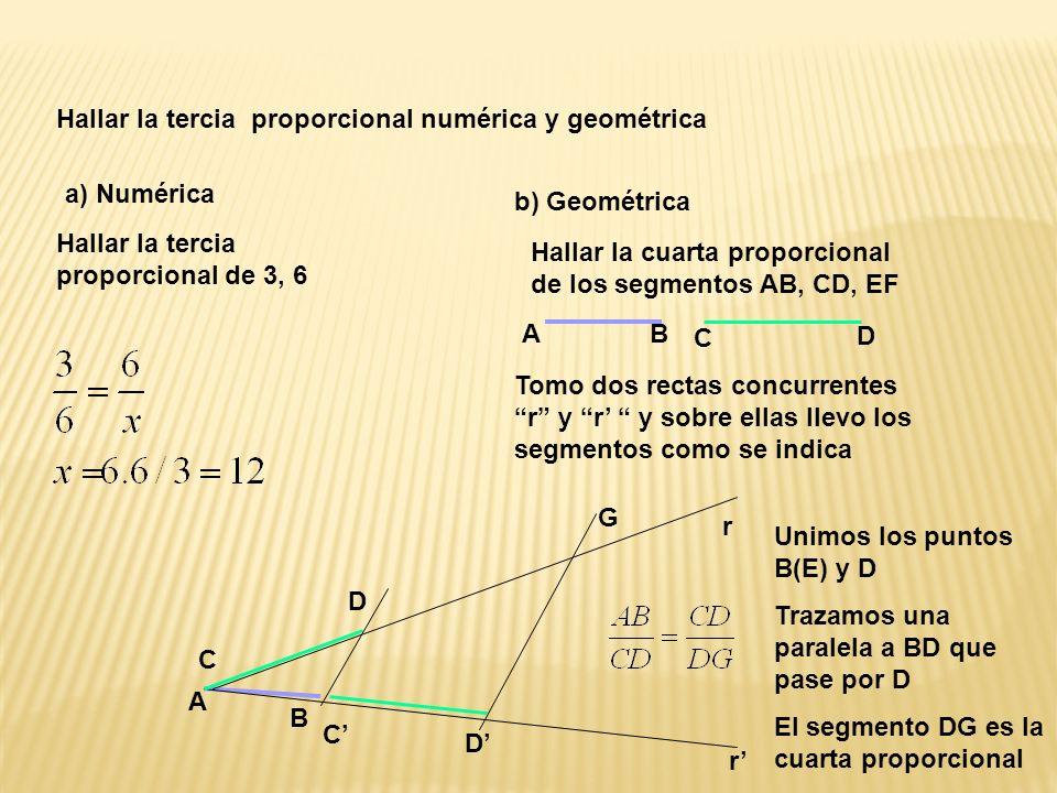 Hallar la tercia proporcional numérica y geométrica