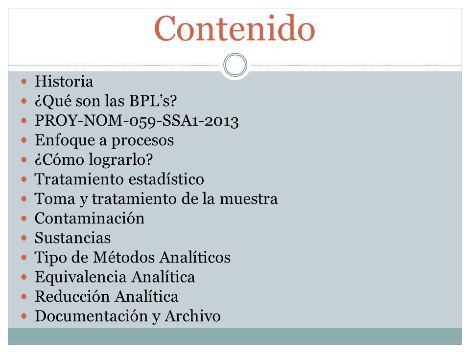 Contenido Historia ¿Qué son las BPL's PROY-NOM-059-SSA1-2013