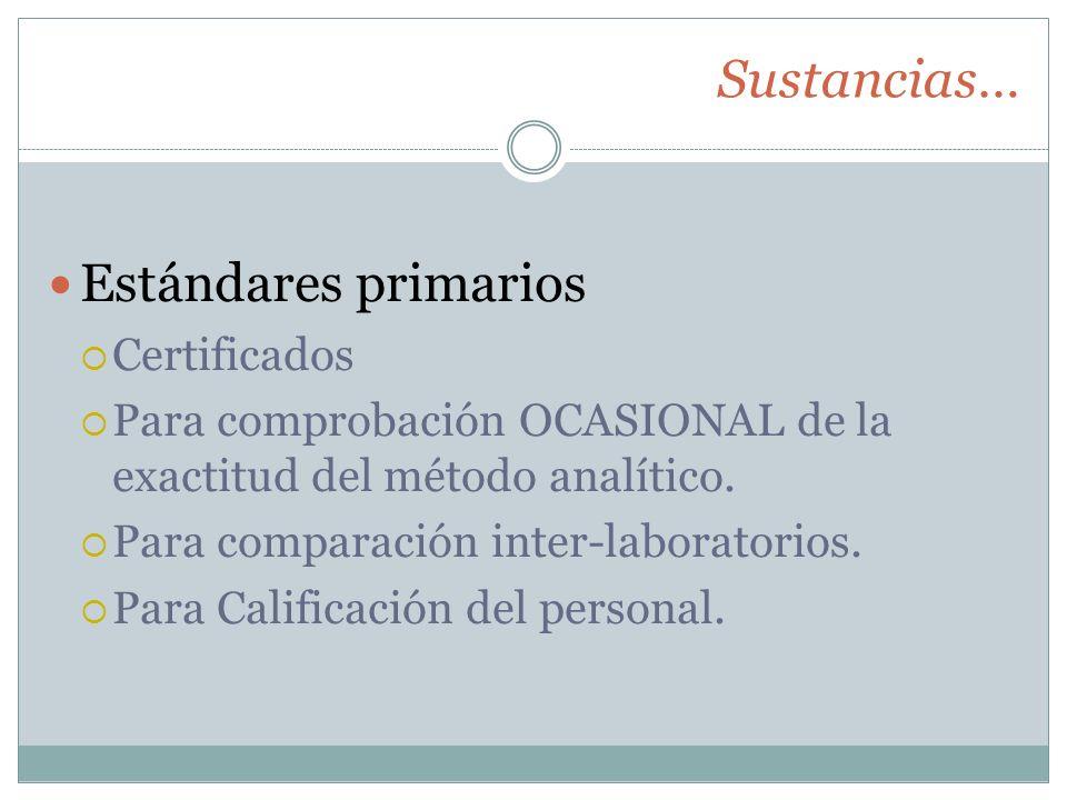 Sustancias… Estándares primarios Certificados