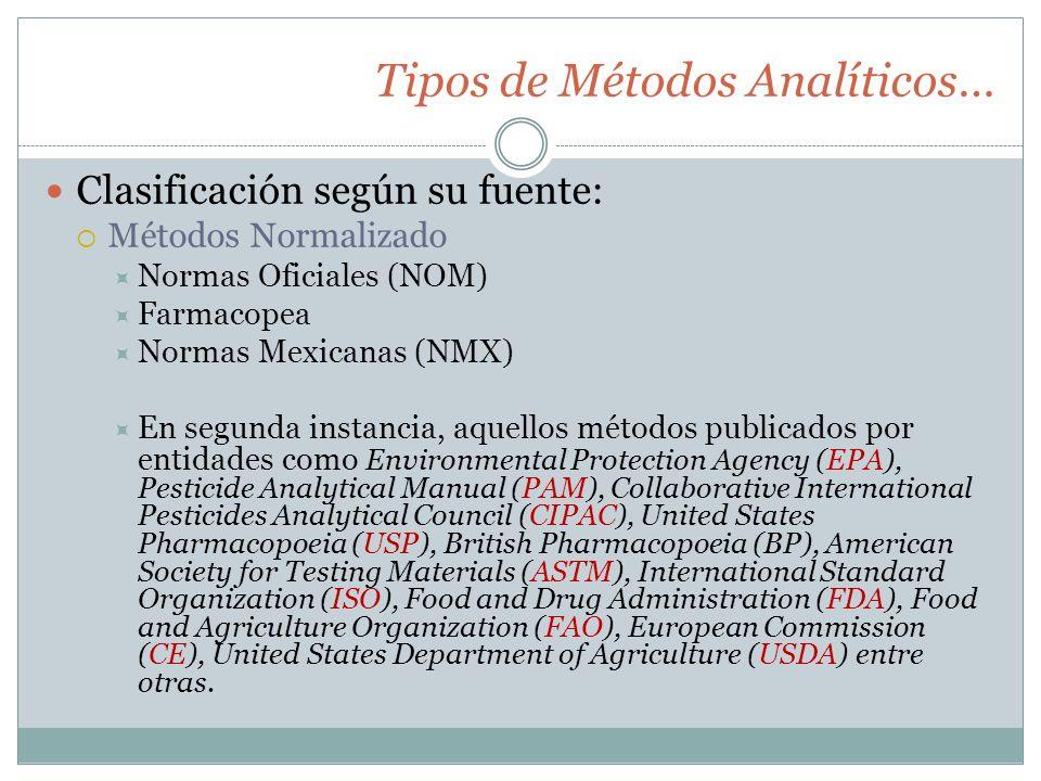 Tipos de Métodos Analíticos…