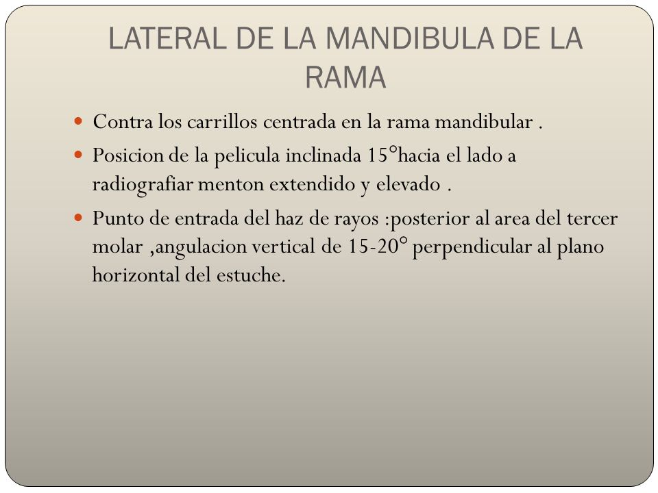 LATERAL DE LA MANDIBULA DE LA RAMA