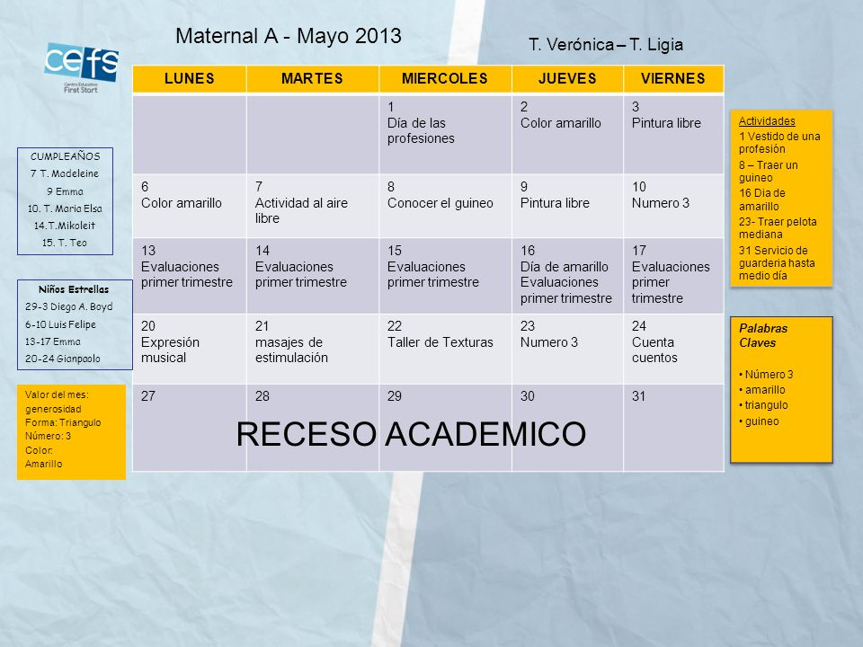 RECESO ACADEMICO Maternal A - Mayo 2013 T. Verónica – T. Ligia LUNES