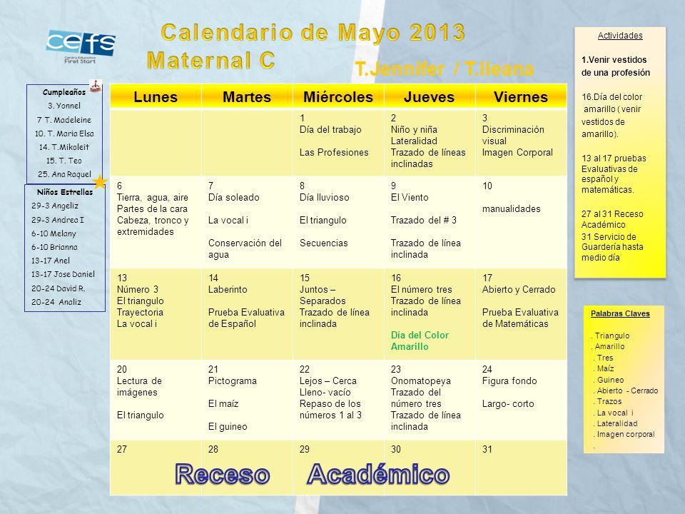 Receso Académico Calendario de Mayo 2013 Maternal C